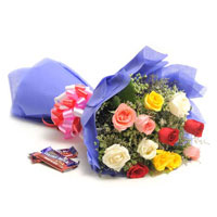 bookey of mix flowers with dairy milk chocolate