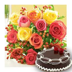 Elegant Deepak Florist Violet Flowers White Cake Happy Birthday