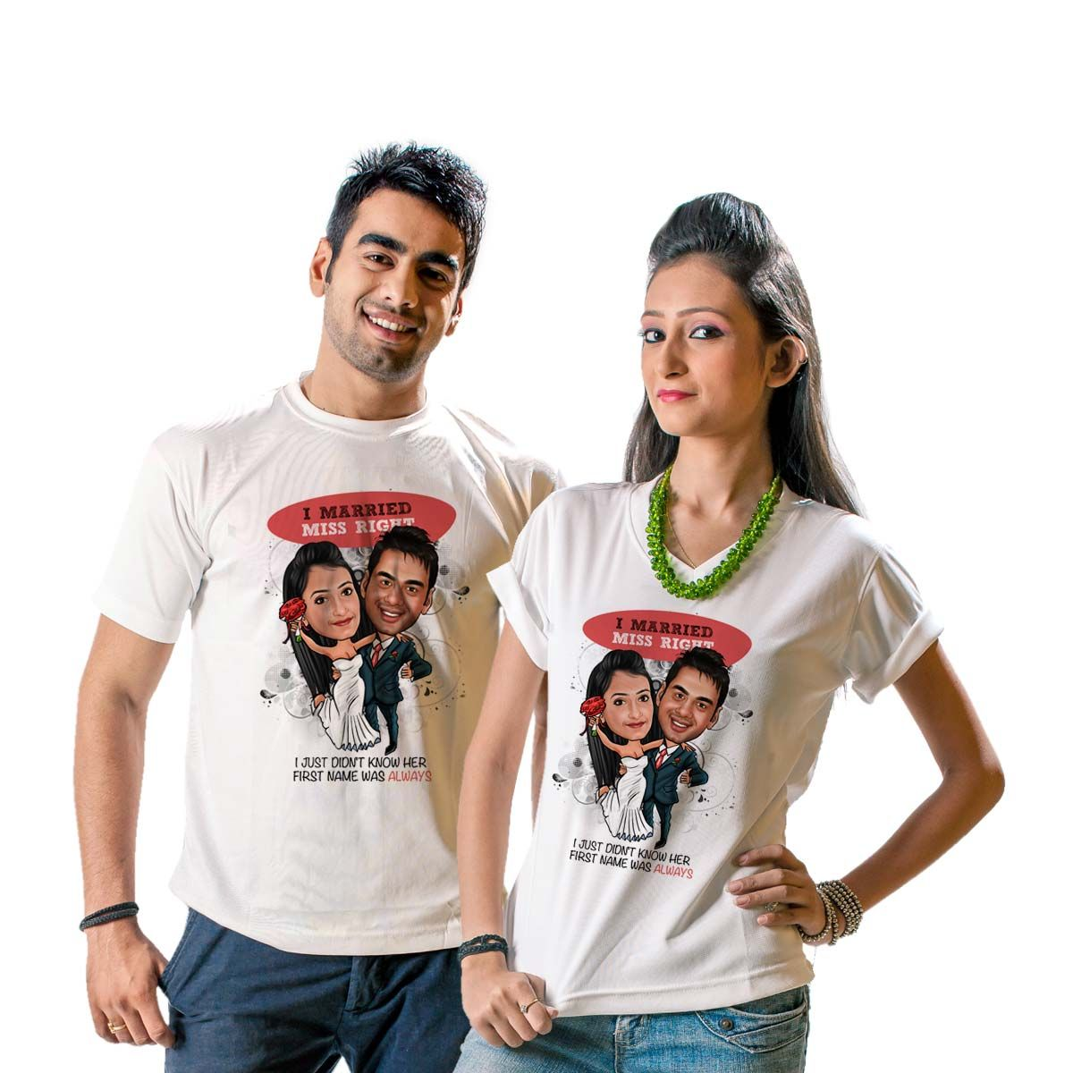 Personalized t shirts deepak florist for Couple printed t shirts india